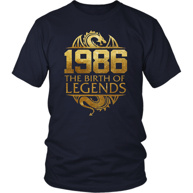 1986 The Birth Of Legends Vintage Classic 32 Yrs Years Old T-Shirt