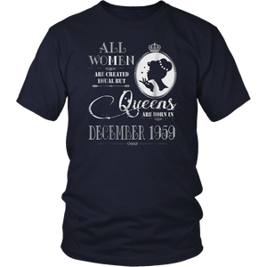 59th Birthday Gift Queens Are Born In December 1959 T-Shirt