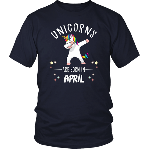 Unicorns Are Born In April Dabbing T-Shirt Funny Kids Tee