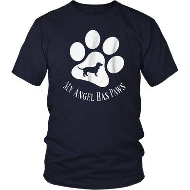 Basset Hound Dog Silhouette My Angel Has Paws Print T-shirt