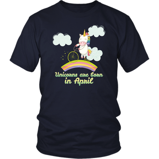 Unicorns Are Born In April T-Shirt - Birthday Gift Shirt