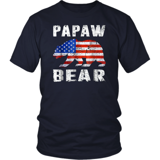 Papaw Bear Fathers Day Shirt American Flag 4th Of July Gifts T-Shirt