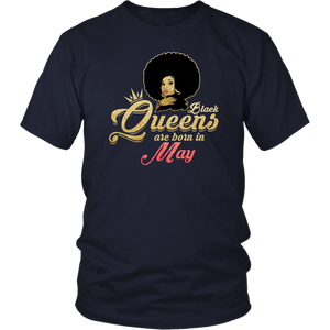 Black Queens Are Born In May Birthday T-Shirt for Women
