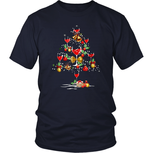 Wine Christmas Tree T-Shirt Wine Xmas T Shirt