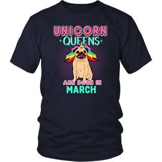 Unicorns Are Born In March - Bug Dog Birthday T-Shirt