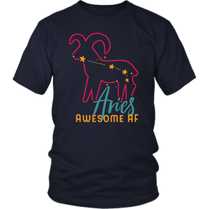 Funny Aries Zodiac Star Sign Astrology T-shirt Awesome AF T-Shirt
