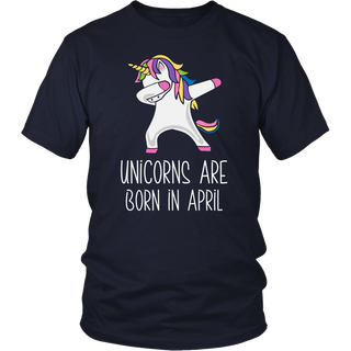 Unicorns Are Born In April Dabbing Birthday T-Shirt For Her