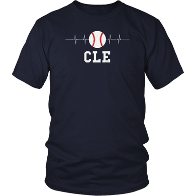 Cleveland Ohio Baseball Love Heart CLE Heartbeat T-Shirt