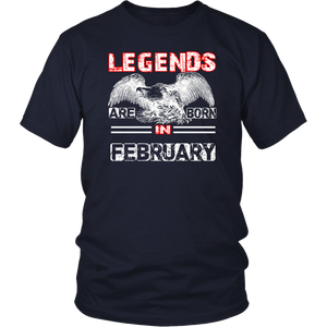 Legends Are Born In February T-Shirt for Birthday