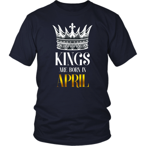 Birthday Shirt Kings Are Born In April Crown Men Boys T-Shirt