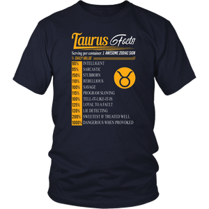 Taurus Facts Awesome Zodiac Sign T-Shirt