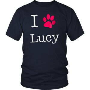 I Love Lucy Dog Name T-Shirt Gift Shirt for Dog Lovers