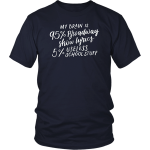 My Brain is 95% Broadway Shirt, Fun Drama Actor Actress Gift