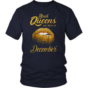 Queens Are Born In December Birthday T-Shirt for Black Women Shirt