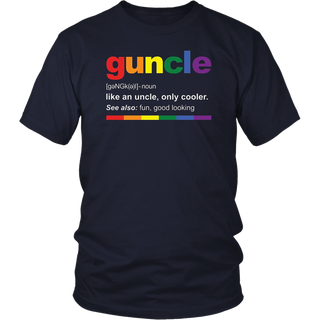 Mens Rainbow Guncle Definition T-Shirt Funny Gift for Gay Uncle