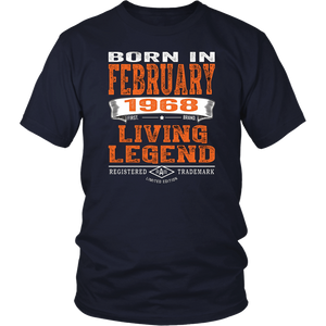 Mens 50th Birthday Gifts Men February 1968 Living Legend T Shirt