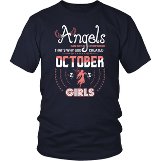 God Created October Angels Girls Month Tshirt