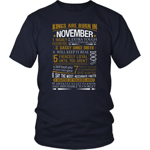 Mens Kings Are Born In November Funny Birthday T-Shirt