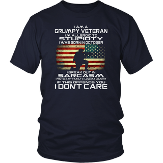 I Am A Grumpy Veteran I Was Born In October-Veteran Shirt
