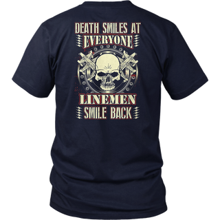 Death Smiles Everyone Lineman Smile Back Lineman Tshirt for Men