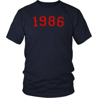 Year 1986 Birthday Design Vintage Red T-Shirt