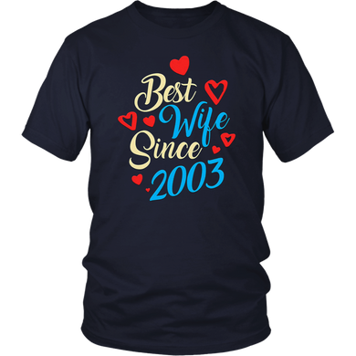 15th Wedding Anniversary Gifts 15 Best Wife Since 2003 T-Shirt