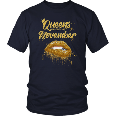 Queens Are Born In November Birthday T-Shirt for Black Women T-Shirt