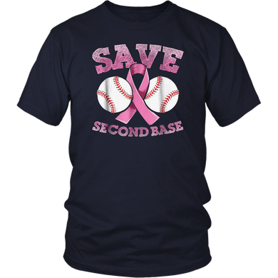 Breast cancer shirt men - baseball shirt - Save second base T-Shirt