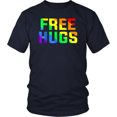 Funny Free Hugs Gay Pride Rainbow Flag LGBT T-Shirt