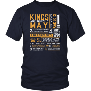 May Birthday Gifts - Kings are Born In May T-Shirt