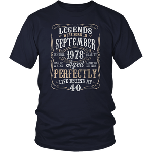 Legends Born SEPTEMBER 1978 40th Awesome Birthday Gift Shirt