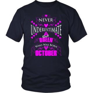 Never Underestimate A Black Queen Who Was Born In October T-Shirt