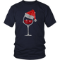 Diamond Wine Glasses Santa Hat Christmas For Men's, Women's T-Shirt