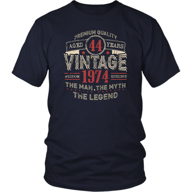 Vintage Awesome Legends Born In 1974 Aged 44 Yrs Years Old T shirt