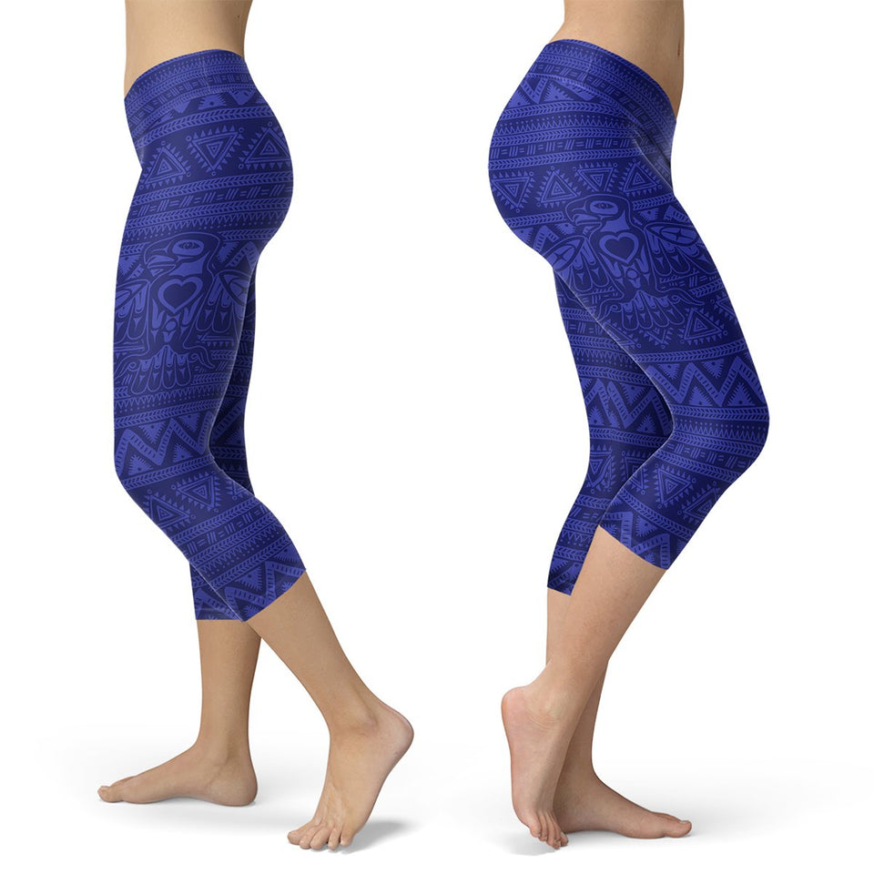 Blue Native Bird Pattern Capris