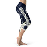 Blue and White Sugar Skull Guitar Capris Quotes Hoodie