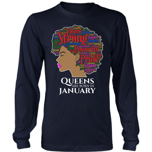 Queens Are Born In January Birthday Black Women T-Shirt