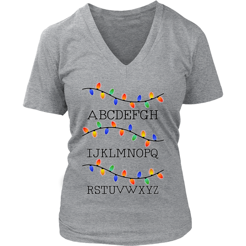 Alphabet Christmas Lights Tshirt Famous Tee
