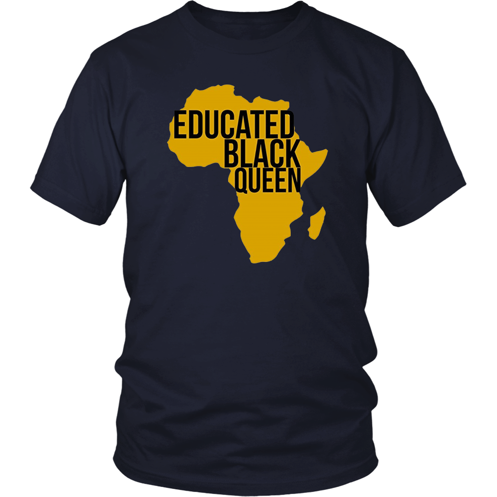 Educated Black Queen T Shirt - African DNA Pride T Shirt