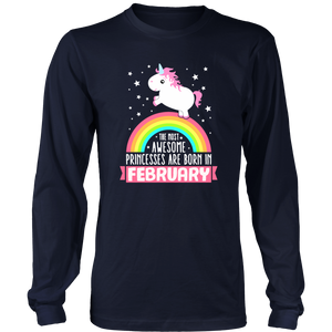 Birthday Unicorn Girl Princesses Born In February Gift T Shirt