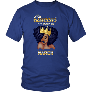 Queens Are Born In March Birthday T-Shirt for Black Women
