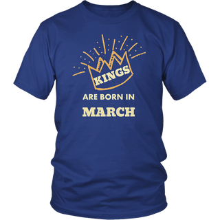 Kings are Born in March Birthday T-Shirt Hot Men's