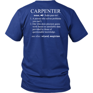 Funny Noun Gift Carpenter Definition T-Shirt Cool Woodworker