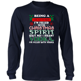 Being January Woman Filled Christmas Spirit Vodka T-Shirt Quotes Hoodie