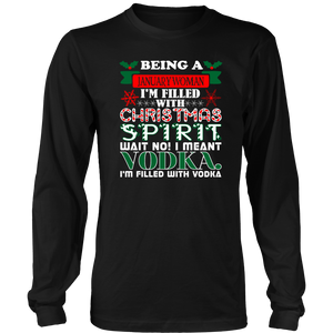 Being January Woman Filled Christmas Spirit Vodka T-Shirt