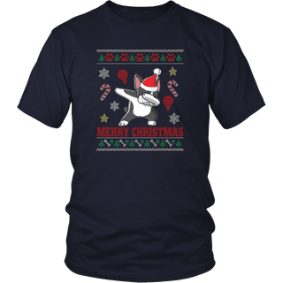 Boston Terrier Dog Dabbing Ugly Sweater T-Shirt Christmas