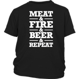 Barbecue Grill BBQ Long Sleeve T Shirt Meat Fire Beer Repeat Quotes Hoodie