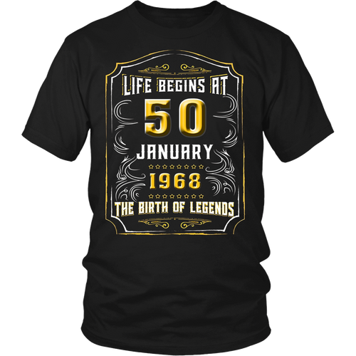 Life Begins at 50 January 1968 Birth of Legends Tee Shirt