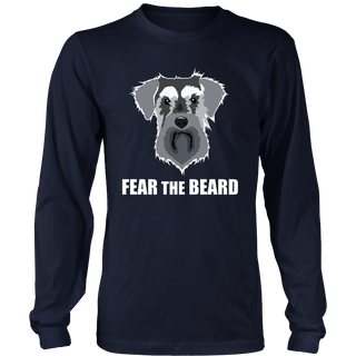 Dog Meme Fear the Beard Mini Schnauzer Long Sleeve T Shirt