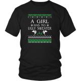 A Girl Has No Ugly Sweater T-Shirt Christmas Gift for Womens Quotes Hoodie